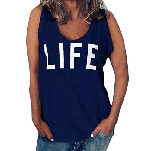 Funny T Shirt for Women,ONLY TOP Womens Casual Life Letter T Shirt Short Sleeve&Sleeveless O Neck Blouse Tee Navy