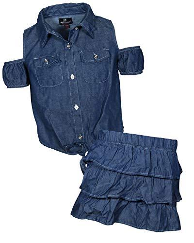 dollhouse Girls' 2 Piece Denim Short Sleeve Top and Skirt Set, Dark Cold Shoulder, Size 7/8'
