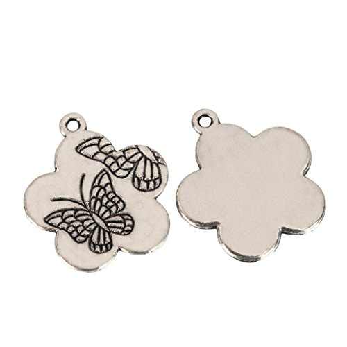 10 x Butterfly & Flower Charms 20mm Antique Silver Tone for Bracelets Necklaces Earrings #MCZ457