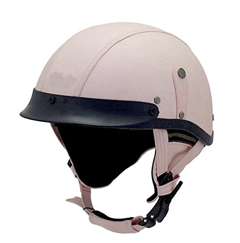 Woljay Leather Motorcycle Goggles Vintage Half Helmets Motorcycle Biker Cruiser Scooter Touring Helmet (Pink) by Woljay
