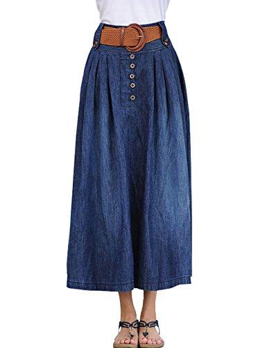 - Lentta Women's Vintage Full Ankle Length High Waist Belted Maxi Long Denim Skirt (Medium, Blue 002)