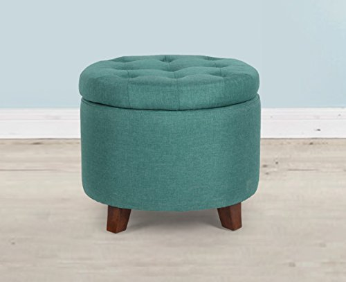 Fabric Round Storage Accent Button-Tufted Ottoman with Woode