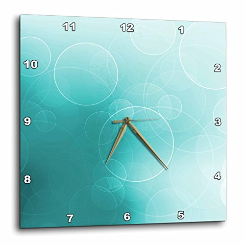- 3dRose DPP_152883_3 Pretty Floating White Circles on a Shimmering Turquoise Background Wall Clock, 15 by 15-Inch