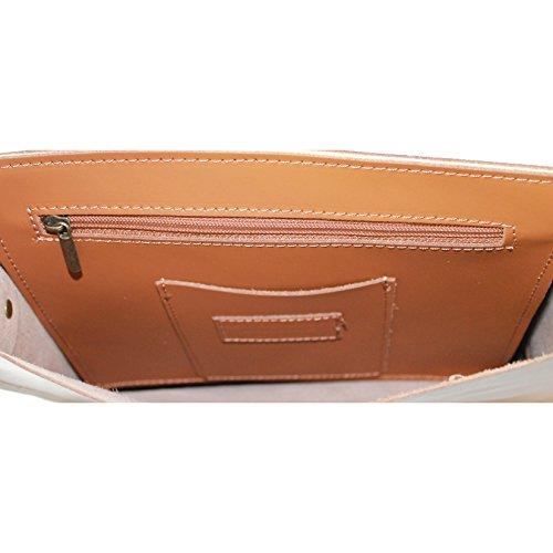CTM Bolso/ carpeta para llevar documentos en cuero con bandolera para hombre y mujer adecuado por trabajo / escuela made in Italy 29x33x7 cm Cuero