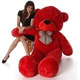 Frantic Soft Plush Fabric Teddy Bear with Neck Bow 4 Feet (120 cm) – Red