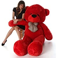 Frantic Soft Plush Fabric Teddy Bear with Neck Bow 4 Feet (120 cm) – Red