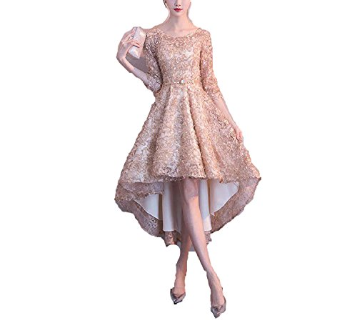 better-caress Half Sleeves High Low Flower Floral Appliques Tea Length Bridesmaids Dresses YS031,Khaki,6,China