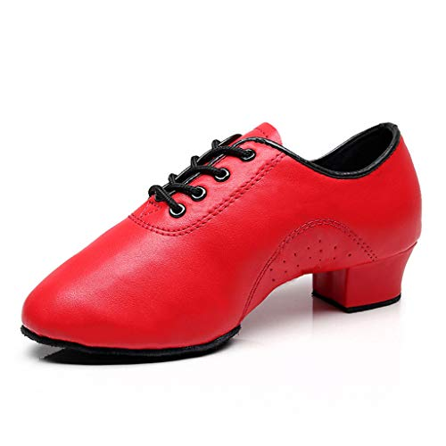 KESEELY Womens Dance Shoes Lace Up Leather Latin Salsa Tango Ballroom Soft Bottom High Heel Shoes Red