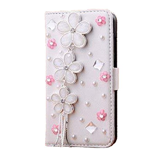 iPhone 6s Wallet Case, Black Lemon Handmade Luxury 3D Bling Crystal Rhinestone Leather Purse Flip Card Pouch Stand Cover Case for iPhone 6 6s 4.7 Inch (Daisy Pink - Crystal Leather Black Rhinestone