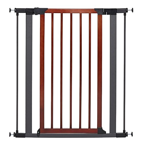 MidWest Homes for Pets Steel Pet Gate w/Textured Graphite Frame & Decorative Wood Door, 39H x 28-38W Inches by MidWest Homes for Pets