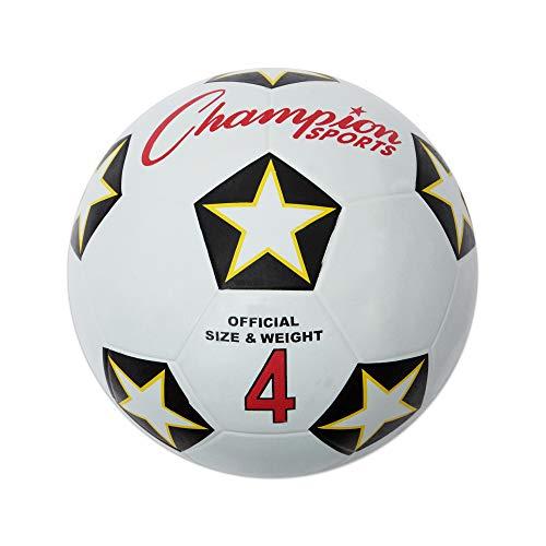 Champion Sports SRB4 Rubber Sports Ball, for Soccer, No. 4, White/Black (CSISRB4) -