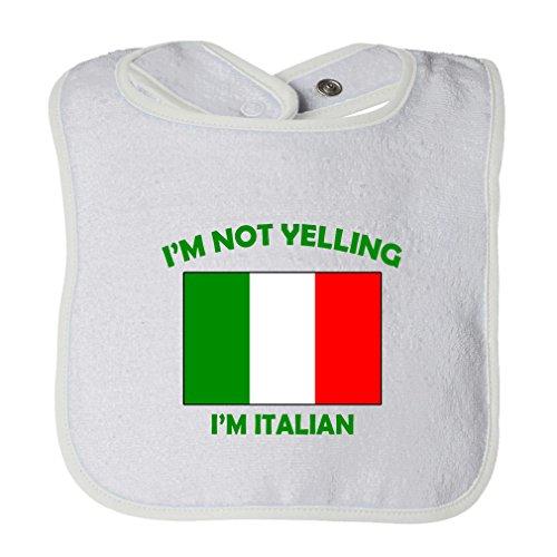 (Cute Rascals I'M Not Yelling I Am Italian Italy Tot Contrast Trim Terry Bib White)