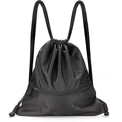 - VASKER Large Drawstring Bag String Backpack Water Resistant Gym Sackpack Pockets 3 Colors for Choice Women Men Black
