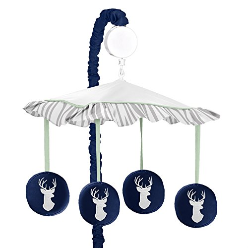 Sweet Jojo Designs Musical Baby Crib Mobile for Navy, Mint and Grey Woodsy Deer Boys Collection