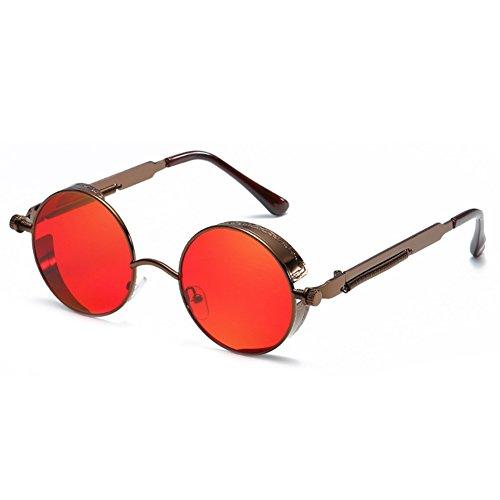 6d0f79c9ef Juleya gótico Steampunk redondo gafas de sol de metal para hombres mujeres  espejo retro vintage gafas