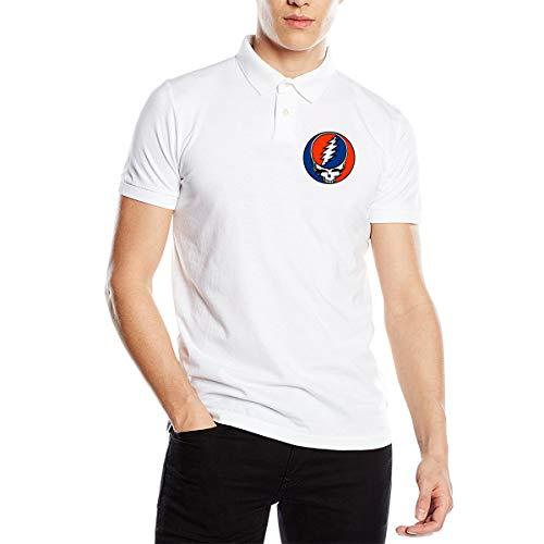 Grateiful Dead Men's Fit Short Sleeve Polo Shirt Tee White (Shirt Dead Golf)