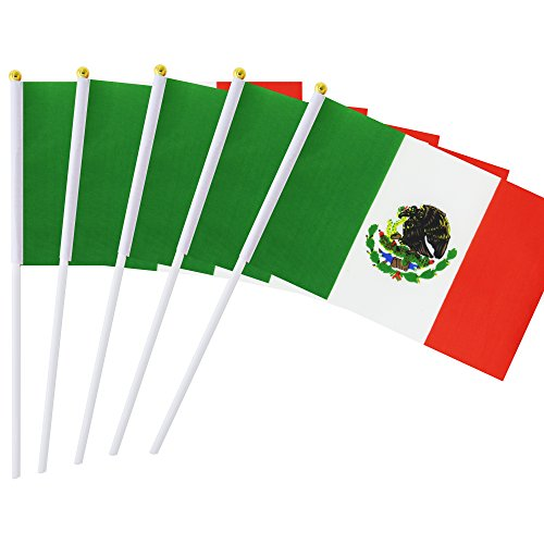 Kind Girl 25 Pack Hand Held Small Mini Flag Mexico Flag Mexican Stick Flag Round Top National Country Flags,Party Decorations Supplies for Parades,World Cup,Festival Events,International Festival -