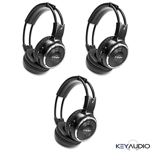 (3 Pack of Two Channel Folding Adjustable Universal Rear Entertainment System Infrared Headphones with 3 48