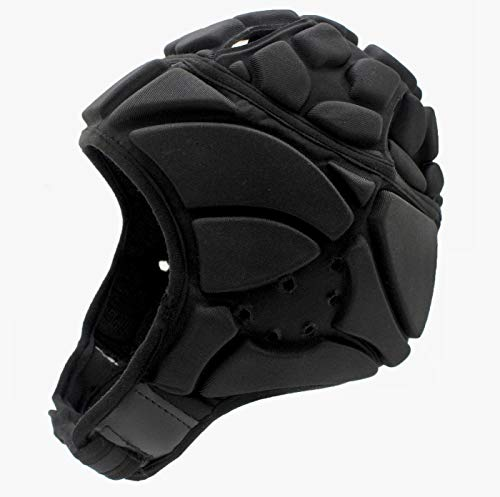 Tychon Premium Soft Padded Headgear - Protection Scrum Cap for Youth & Adults - Soft Helmet for Flag Football 7 on 7, Rugby Sports & Seizures - Head Protective Helmet Fall Protection (Black, XL)