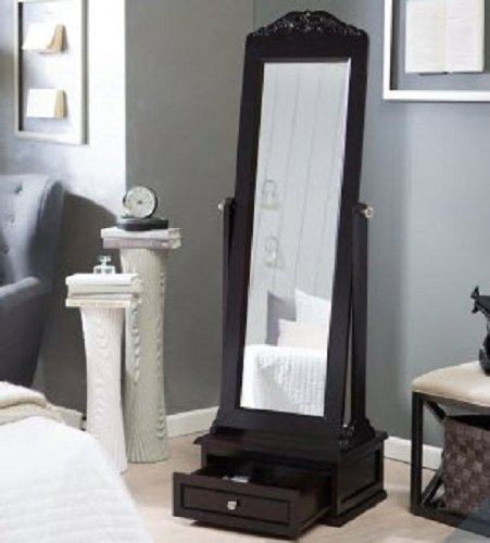 Cheval Mirror This Large Full Length Mirror Is A Free Standing Framed Floor Mirror with a Rich Espresso Finish. The Ornate Decorative Antique Top Can Be Removed for a Contemporary Look. A Welcome Addition to Any Bedroom or Master Bathroom Guaranteed.