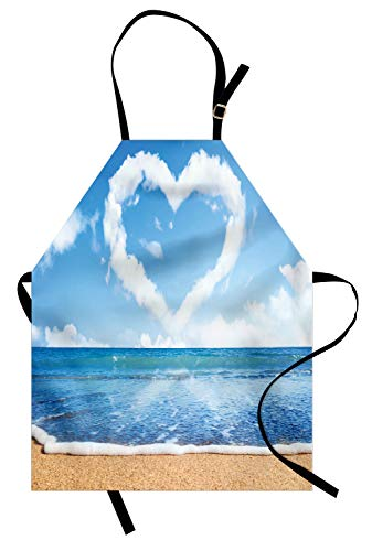 Ambesonne Valentines Day Apron, Clouds in Clear