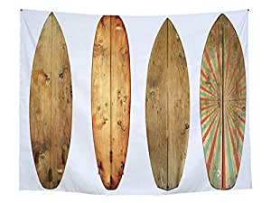Summer Beach Sports Surfing Wood Board Pattern Wall Hanging Tapestry Beach Towel Home Living Room Bedroom Decorative Wall Carpet Yoga Mats