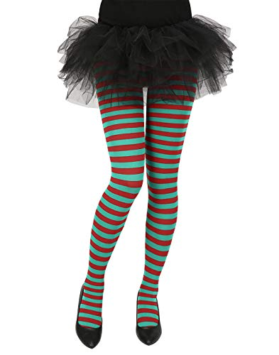 HDE Women's Striped Tights Opaque Microfiber Stockings Nylon Footed Pantyhose