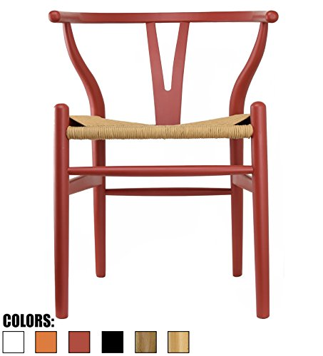 2xhome Red - Wishbone Wood Arm Chair Armchair Modern Red with Natural Woven Seat Dining Room Chair