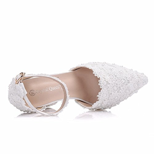 Sandals Chunky Bride Party Women's High Size Wedding Strap Pearl For Ankle White ZPL Pumps Lace Shoes 36 Bridal Ladies 41 White Heels Shoes Court Dress 5OxqEHz
