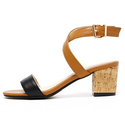 COOLCEPT Damen Mode Kreuz Sandalen Open Toe Slingback Blockabsatz Schuhe Braun