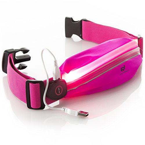 LED Reflective Running Belt Pouch with USB Rechargeable Light - Key, Phone, iPhone 6 Plus Holder for Runners - Waist Fanny Pack for High Visibility during Walking and Cycling … (Pink Fluo)