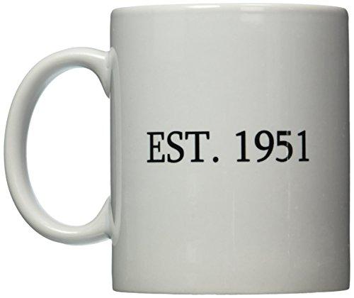 3dRose mug_161349_1 Est 1951-Established in 1951-Personal Birth Year Personalized Year You Were Born-Black Text, Ceramic Mug, 11-Ounce