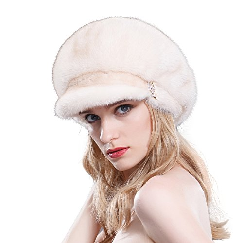 URSFUR Ladies Raised Mink Fur Bucket Hat (SAGA Pearl Beige) by URSFUR