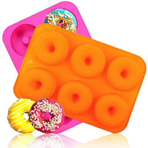 2PC Silicone Donut Baking Pan Non-Stick Mold Dishwasher Decoration -