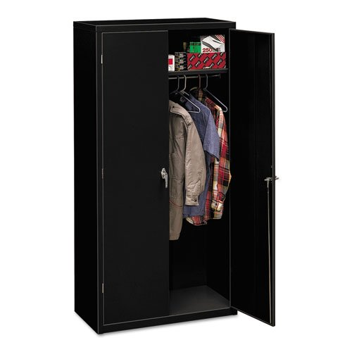 HON Brigade Series Five-Shelf Storage Cabinet - High Storage Cabinet, 36w by 18d by 72h , Black (HSC1872) (2 Door Metal Armoire)