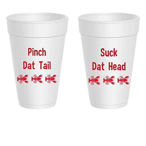 Crawfish Styrofoam Cups - Suck Dat Head, Pinch Dat -