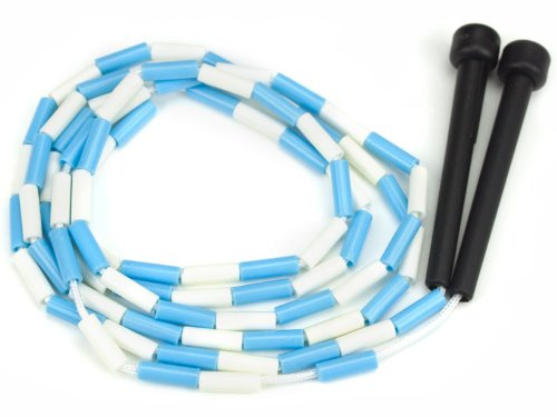 K-Roo Sports Jump Rope with Plastic Beaded Segmentation, 7', Blue/White