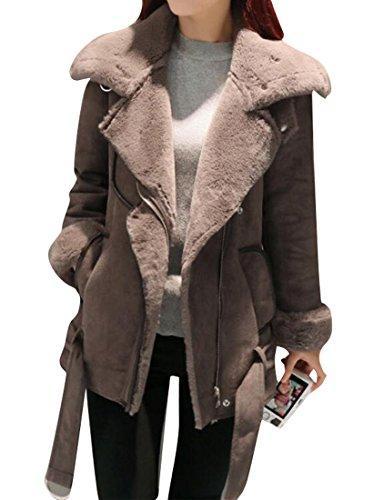 - Oberora Womens Warm Faux Suede Faux Fur Lined Down Coat Jacket Outwear Camel S