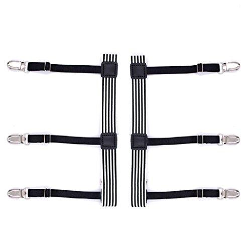 Mens Suspender Shirt slip Adjustable Dress Garter Stays with Garter White Clamps Belts Non EqAwTrE