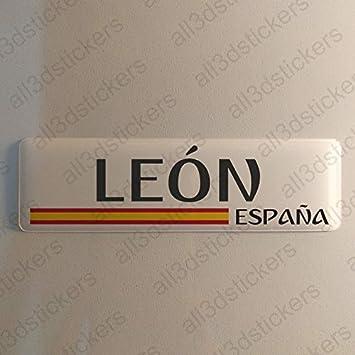 Pegatina Leon España Resina, Pegatina Relieve 3D Bandera Leon España 120x30mm Adhesivo Vinilo: Amazon.es: Coche y moto