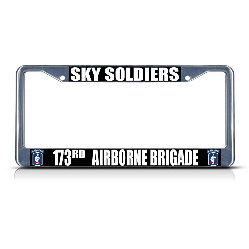 - Sky Soldiers 173RD Airborne Brigade Army Metal License Plate Frame Tag Border Perfect for Men Women Car garadge Decor