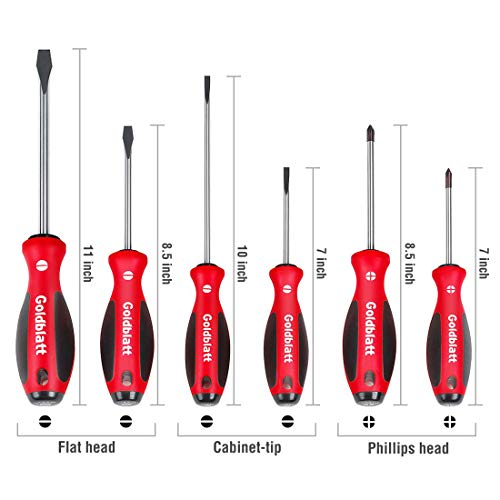 Goldblatt Screwdrivers Set, S2 Blades with Tri-lobe Handle - 6-piece Slotted and Phillips Screwdriver Kit with Non-slip Handle, for Home Repair, Craft Repairing, Improvement (Goldblatt Tools)
