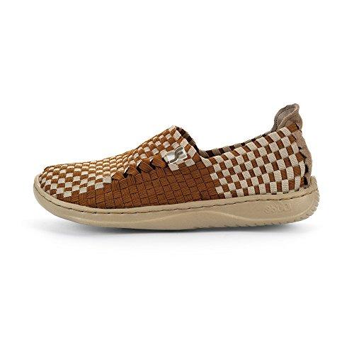 Dude Shoes Womens Moka E-Last 6 Woven Textile Dove Brown