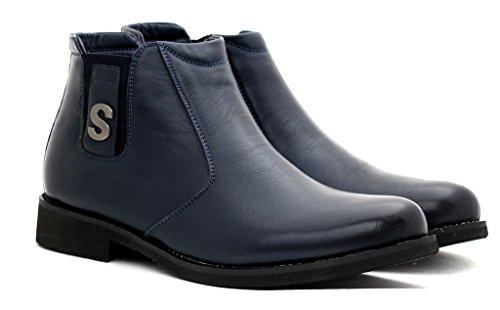 hombre nuevo Moda Botines Chelsea Casual Zapatos De Diseño Inteligentes Sin Cierres UK Size Azul Marino