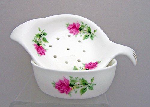 English Bone China Tea Strainer and Bowl - Summertime Rose Pattern