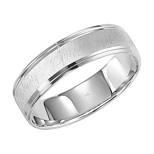 (Brilliant Expressions 14K White Gold Diagonally Brushed Comfort Fit Wedding Band with Grooved Polished Edges, 6mm, Size)