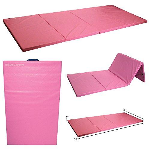 Seismic Sports SSM-4102Pink - Pink Gymnastics Mat for Tumbling Yoga Exercise Karate Cheer, 4' x 10' x (4x10' Speakers)