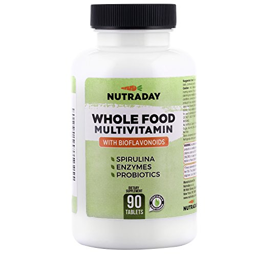 Daily Whole Food Multivitamin for Men and Women Best Formula with Spirulina | 90 Tablets | Digestive Enzymes, Citrus Bioflavonoids, Omega 3 6, Brocolli, Vegetable and Garlic Powder + Berries extracts Review