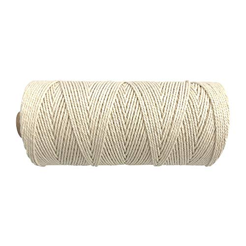 EachMay Cotton Twine String, 656 Feet 1.5mm White Macrame Cord Handmade Decorations Perfect for Wall Hangings, DIY Crafts and Baking