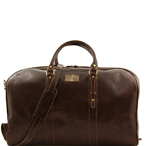 Tuscany Leather Francoforte Exclusive Leather Weekender Travel Bag - Large size Dark Brown by Tuscany Leather